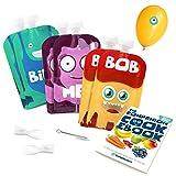 Yummy Monsters - Lot de 6 Gourdes Réutilisables pour Compote sans BPA - 140 ml - BONUS 2 Cuillères + 1 Goupillon + eBook de Recettes Inclus