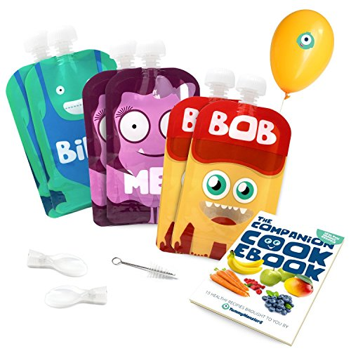 Yummy Monsters bolsas de comida para bébés reutilizables – Pack de 6...