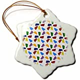3dRose orn_6050_1 Walking in All Directions Many Feet Condense Pattern Porcelain Snowflake Ornament, 3-Inch
