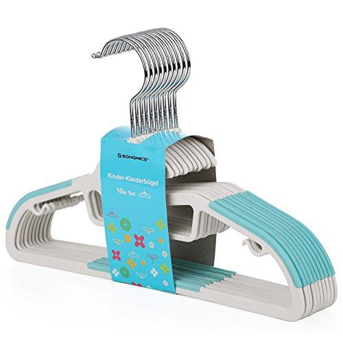 SONGMICS Kleiderbügel-Kinder 20 Stück aus Kunststoff S-Form Öffnung mit Antirutsch-Gummiband um 360° drehbarer Haken, rutschfest, platzsparende, 30 cm blau CRP30Q