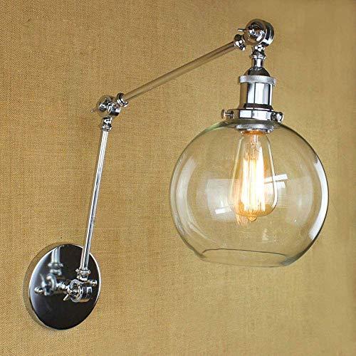 Bad Qyhome Einstellbare Swing Arm Laterne Wandleuchte, Retro Industriewandleuchte, Jahrgang transparentes Glas Lampshade, Retro-Art-Antike Nachtlampen-Dekoration-Lampe schalterslv (Color : Chrome-1) -