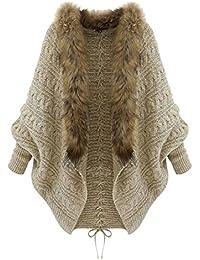Femmes Châle col de fourrure manches chauve-souris Tricot Cardigan Manteau