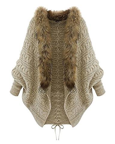 Femmes Châle col de fourrure manches chauve-souris Tricot Cardigan Manteau Kaki