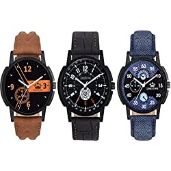 LimeStone Round Casual Analog Synthetic Leather Strap & Multicolor Dial Men's / Boy's Wrist Watch - (Combo Pack of 3)