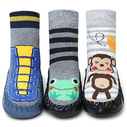 Adorel Baby Hüttenschuhe Gefüttert Socken Rutschfest 3 Paar Bunt Tier-Motiven 12-18 Monaten
