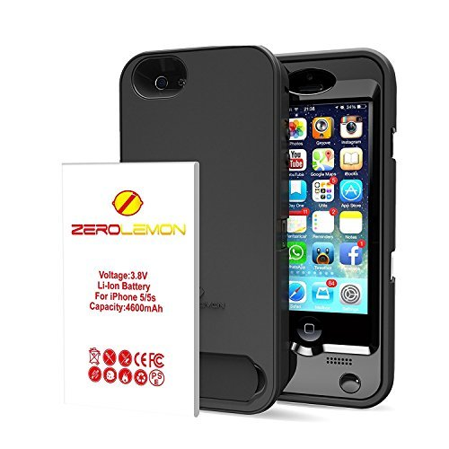 ZeroLemon 4600 mAh Removable Rugged Juicer Triple Layer Extended Battery Case for iPhone 5/5S - Black