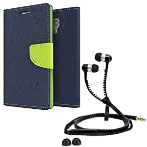 Aart Fancy Diary Card Wallet Flip Case Back Cover For HTC 626-(Blue) + Zipper earphones/Hands free With Mic *Stylish Design* for all Mobiles By Aart store