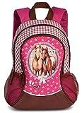 Mädchen Kinder Rucksack Kinderrucksack mit tollem Pferde Pfohlen Motiv (20550) mit Hauptfach und Nebenfach Getränkenetz, 35 x 27 x 15 cm, pink