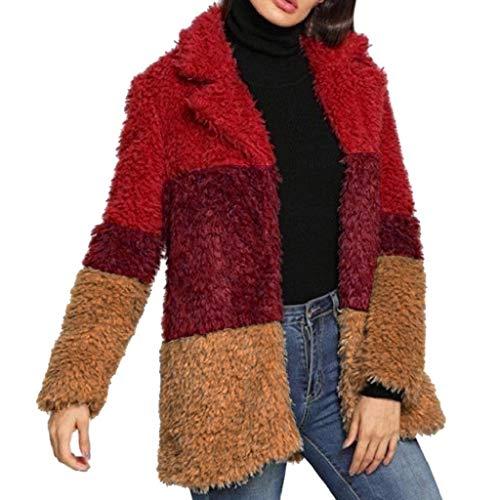 Luckycat Chaqueta de Invierno Mujer,Abrigo de Cremallera de Felpa Jersey de Solapa Suéter de Terciopelo de Cordero Abrigo de Lana, Grande