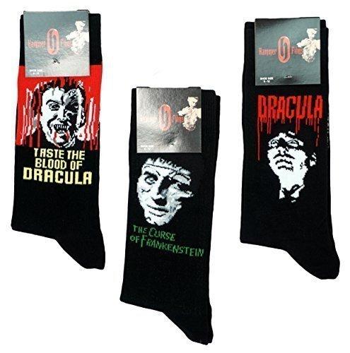 Herren Hammer Horror Packung 3 Paar Frankenstein Dracula Socken Schuhe One Größe 39 bis 12 - Herren, Schwarz, (Schuhe Frankenstein)