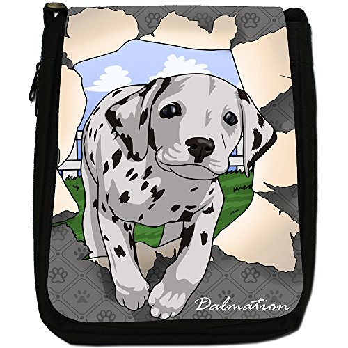 Spezzare cani medium nero borsa in tela, taglia M Dalmatian Breaking Through