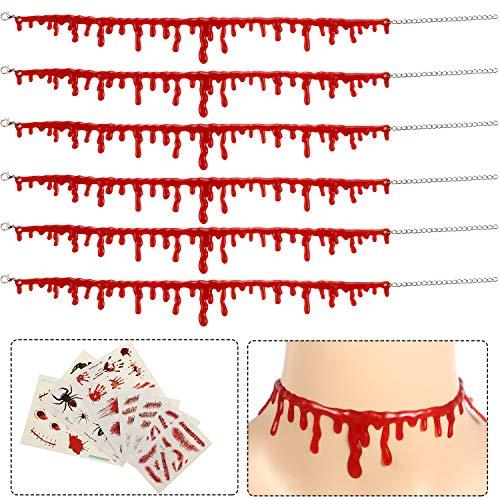 Party Kostüm Vampir - 6 Stück Halloween Tropfen Blut Halskette Vampire Halsband Halskette Horror Thema Party Kostüme Satz Dekorationen mit 7 Stücken Narbe Aufkleber