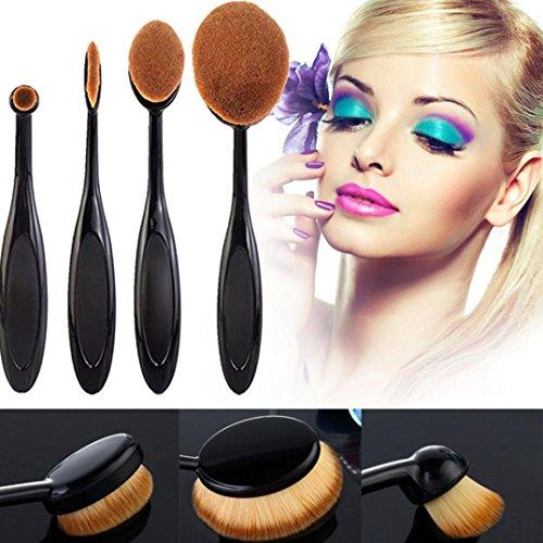 Vidlan Set de 4 pinceaux à maquillage pour sourcils, fond de teint et poudre