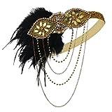 ArtiDeco 1920 Diadema de Pluma con Cuentas Cinta para el Pelo con Cristal Vintage Años 20 Flapper Pelo Banda de Pluma Disfraz Gatsby Accesorio