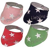 Handgefertigtes Halstuch für Baby und Kinder mit Namen bestickt in rosa, blau, grün oder rot - 0 bis 2 Jahre, Baumwolle, Mädchen oder Junge