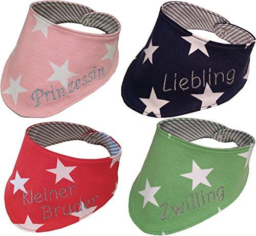 tuch für Baby und Kinder mit Namen bestickt in rosa, blau, grün oder rot - 0 bis 2 Jahre, Baumwolle, Mädchen oder Junge (Rot Personalisierte Geschenke)