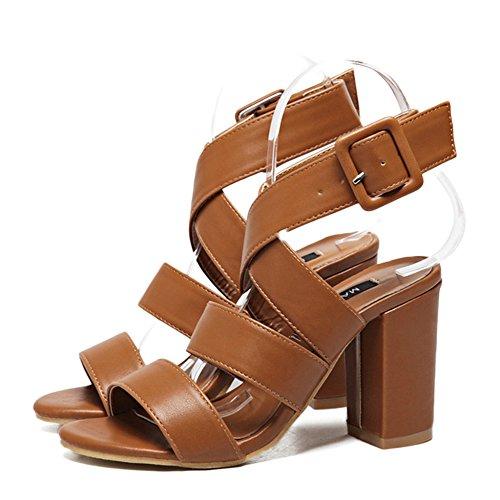 YR-R Frauen Vintage Rom Open Toe High Heel Schuhe Klobige Ferse Ausgeschnitten Sandalen Damen Ankie Strap Party Club Pumps,Brown-EU:37/UK:4.5