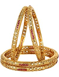 MUCH MORE Ethnic Gold Tone 4 Set Of Polki Bangles Traditional Jewellery With Ruby Stone