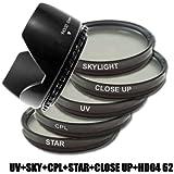 DynaSun Kit Pro 62mm CPL Zirkular Pol/UV/Sternfilter mit Skylight, Nahlinsen und Gegenlichtblende