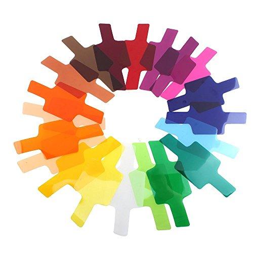 Cikuso 20 Farb fotografisch Farbfilterfolie Fuer Canon/Nikon/Oloong/Yongnuo Flash/Speedlite (20 x Farbfilterfolie, 1 x Befestigungsband, 1 x Aufbewahrungstasche)