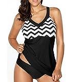 OverDose Fraun Gestreift Drucken Bikini-Sets Zweiteilige Badeanzüge Bademode Strandanzug(Black,L)
