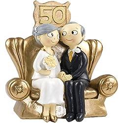Figura bodas de Oro 50 aniversario 16,5 cm