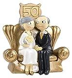 Mopec Pop & Fun - Figura para tarta de bodas de oro, 50 aniversario, 16 x 16,5 cm, color dorado oscuro