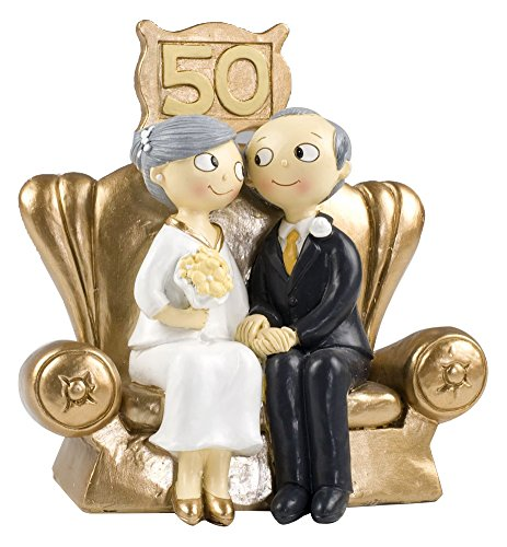 Mopec Pop & Fun - Figure for Gold Wedding Cake, 50 Anniversary, 16 x 16,5 cm, Dark Gold Color