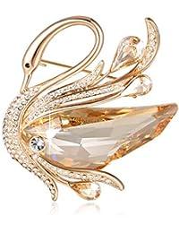 SUE'S SECRET Broches de Mujer - Austríaco Cristal Swarovski - Broche de Cisne Oro - Bisuteria Broche Alfileres - Regalo de Joyería Ideal para Madre/Amigo / Hija/Novia / Niña