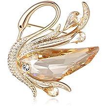 SUE S SECRET Broches de Mujer - Austríaco Cristal Swarovski - Broche de  Cisne Oro - Bisuteria 0407829a40b