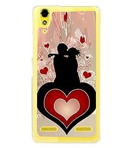 Love Couple Heart 2D Hard Polycarbonate Designer Back Case Cover for Lenovo A6000 Plus :: Lenovo A6000+ :: Lenovo A6000