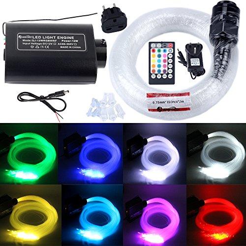 JennyHedy Lichtfaser Set : 12W Glasfaser RGBW Musikalische Flickerlichtquelle,mit 150pcs 0,75 mm 2m (6.5ft) optische Fasern + 28key Fernbedienung, für Car Ceiling oder Star Vakanz(Glasfaserleuchten)