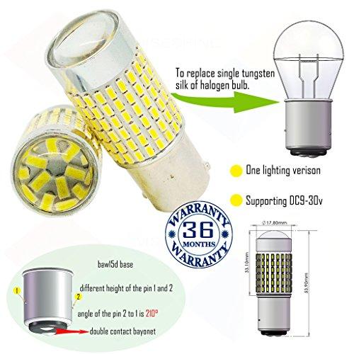 Preisvergleich Produktbild Wiseshine 3000k baw15d led birne lampen DC9-30v 3 Jahre Qualitätssicherung (2 Stück) baw15d 144smd 3014 warmweiß