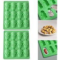 QUICKLYLY Nuevo 2Pc Multifunción 12 Cerdito Verde Moldes de Postre/Pastel/Galleta/tartas