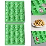 QUICKLYLY Nuevo 2Pc Multifunción 12 Cerdito Verde Moldes de Postre/Pastel/Galleta/tartas y bizcochos Formas De Silicona Para Hornear