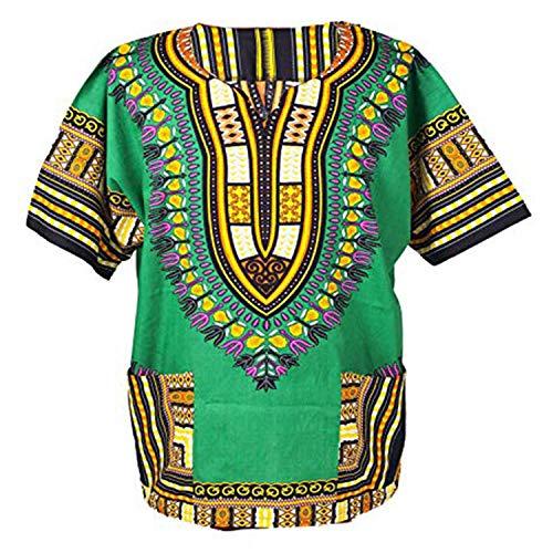 Herren Dashiki Kostüm - Lofbaz - Unisex Dashiki - Traditionelles Oberteil mit afrikanischem Druck XL Grün