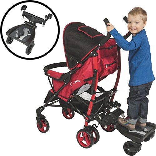 Buggyboard / Kiddy Board für Kinderwagen / Buggy Schwarz (Bis 20 Kg)