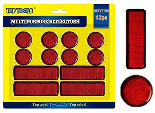 12 Muliti Purpose Red Light Reflectors Rear Trailer Reflector Disks Caravan Bike