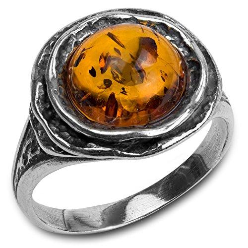Noda Damen-Ring klassisch rund Bernstein und Silber 925 Größe 67 (21,3) (Filigran-ring Größe 7)