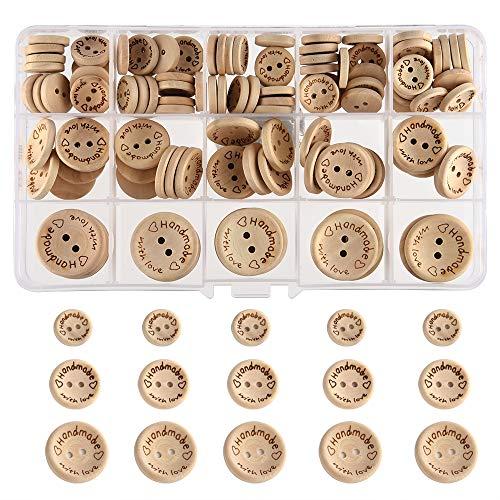 """FEPITO 140 Stück Handmade Knöpfe """"Handmade mit Liebe"""" Holzknopf 15mm 20mm 25mm Runde Form Holzknöpfe zum Nähen und Basteln von Dekorationen"""