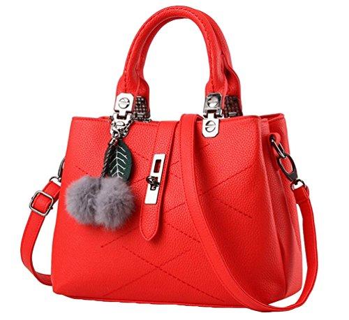 YAANCUN Donna Borsa PU Pelle Per Le Donna Moda Vintage Tote Bag Rosso