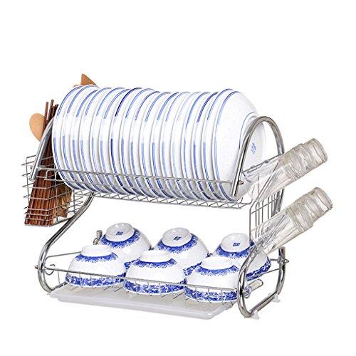 Porte-vaisselle étagère étagère étagère de cuisine double couche étagères à vaisselle étagère de drainage vaisselle incorporé fournitures étagère étagère étagère ( Couleur : A , taille : 45*24*38CM )