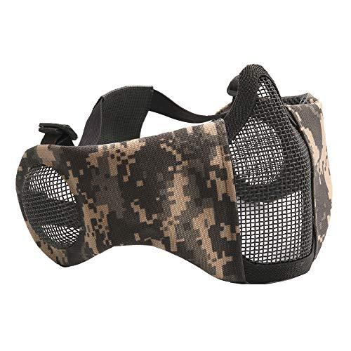 CARACHOME Outdoor militär CS Maske, Half Face Taktische Maske, Outdoor Sports Airsoft Maske mit verstellbarem Gurt, geeignet für BB Gun Cosplay Kostüm Jagd Paintball,A