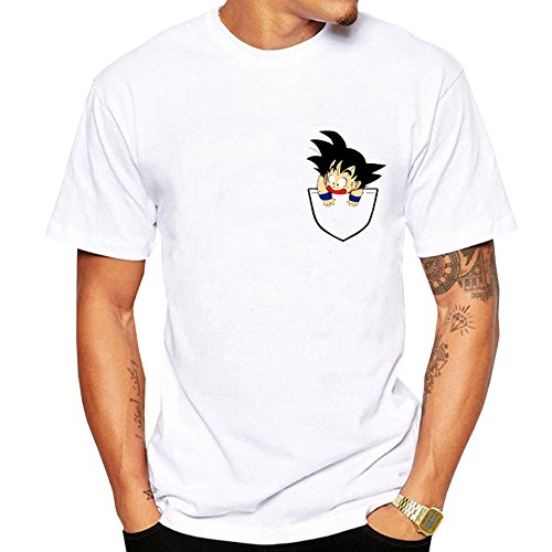 Herqw61 Herren Dragon Ball T-Shirt Son Goku Dragonball Moonlight Shirt Männer Sommer Kurzarm Top (M, Weiß01) (Ball Dragon Shirt)
