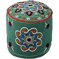 Coperchio ottomano verde rotonda della Boemia Pouffe cotone floreale ricamata tradizionale ottomano Pouf da (Sedia Da Giardino Ottomano)