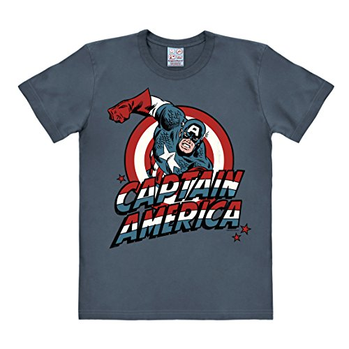 Logoshirt Herren Freizeithemd Marvel - Captain America (Medium Blue), 50 (Hersteller Größe:Small)