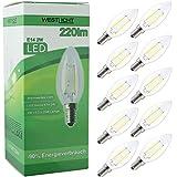 10x Westlicht Filament | E14 2W 220 Lumen LED | Leuchtmittel AC 230V 270° warmweiß