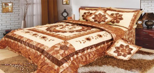 Dada Betten bm6134l Sunflower Polyester Patchwork 5tlg Tröster Set, Polyurethan, braun, King Size - Sets Clearance Twin Tröster