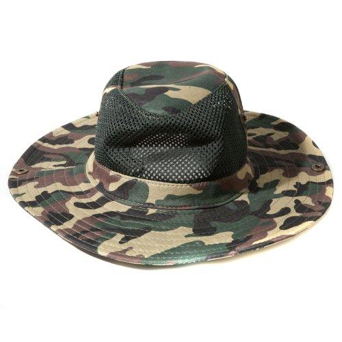 Accessoryo - Armée De Camouflage Impression Maillé Chapeau De Style Safari Avec La Longueur Bascule Réglable Disponible Dans Un Choix De Couleurs brun et vert