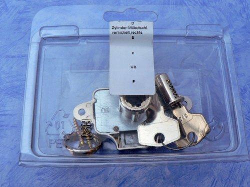 HSI Zylindermöbelschlösser vernickelt rechts, Dorn 25 mm, 1 Stück, Artikelnr. 924898